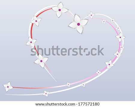 Heart shape, decorated with flowers/Wedding Background - stock vector
