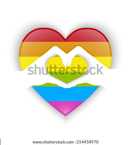 heart shape design with gay flag and shadow effect - stock vector
