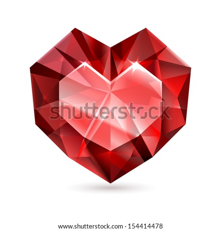 Heart shape diamond. EPS10 - This illustration contains a transparency and Blending mode - Color Dodge - stock vector