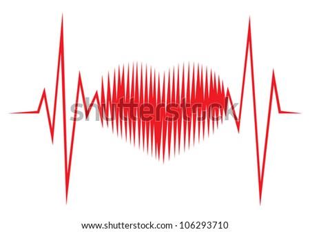 Heart shape ECG line - stock vector