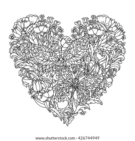 Heart Shape Flowers Butterfly Adult Coloring Stock Vector