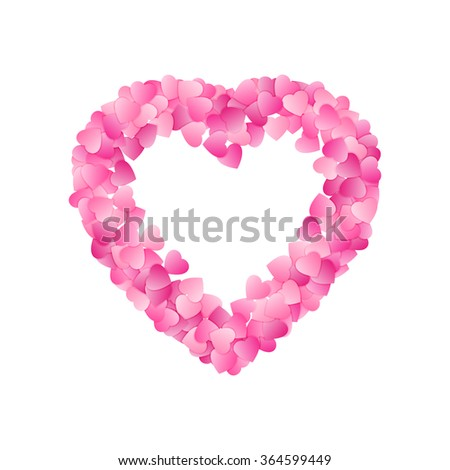 Heart Shape Frame Made Pink Hearts Stock Vector Shutterstock - Valentine's day invitation template