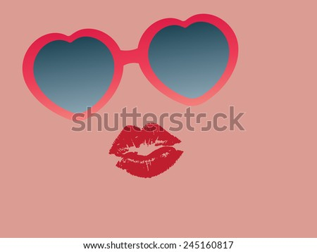 Heart shape glasses and lipstick mark. Suitable for valentines day card