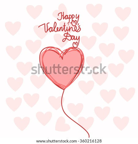 Heart Shape Happy Valentine Day Vector Illustration