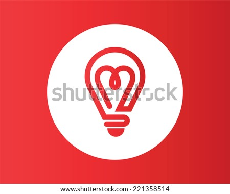 Heart shape in a light bulb. Abstract icon. - stock vector