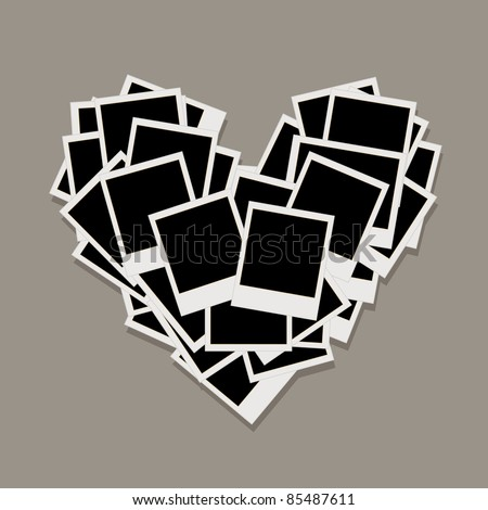 Heart shape made from photo frames, insert your photos - stock vector