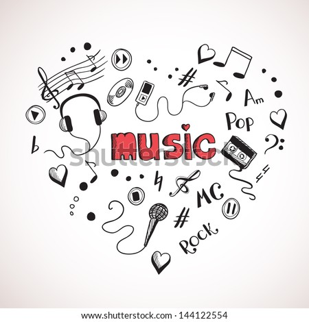 Heart shape made of sketch music elements - stock vector
