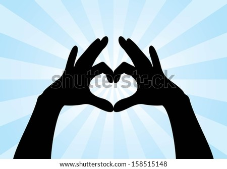 heart shape made with hands - stock vector