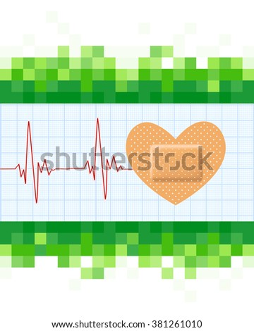 Heart shape medical plaster and cardiogram on mosaic green background. Conceptual healthcare illustration with heart adhesive bandage. vector  - stock vector