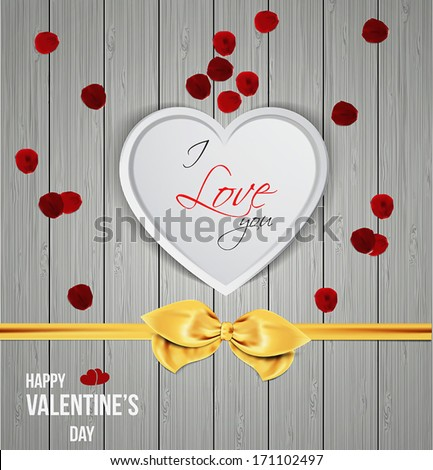 Heart shape on wooden texture. Happy Valentine's Day. Vector
