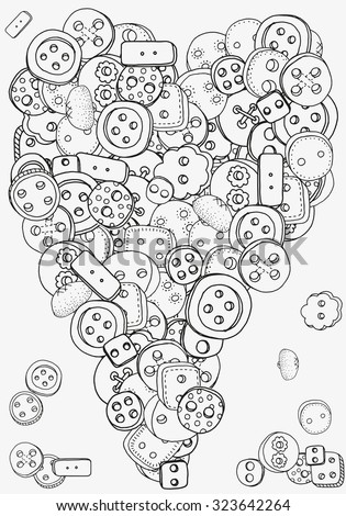 Heart shape pattern with clothes buttons for coloring book. Clothes buttons, hand-drawn decorative elements in vector. Black and white pattern.  Made by trace from sketch. Zentangle