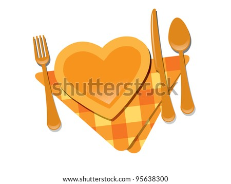 Heart shape plate - stock vector