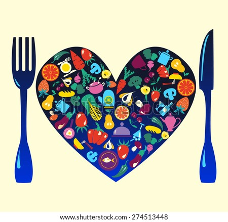 Heart shape set  of  kitchen related utensils , food and beverage - Illustration  - stock vector