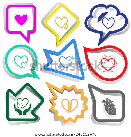 Heart shape set. Paper stickers. Vector illustration. - stock vector