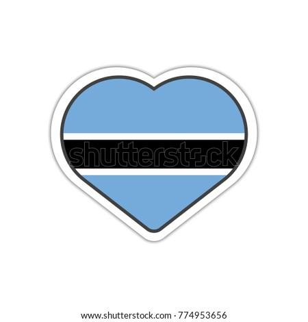 Heart shape sticker or label design for botswana flag illustration for greeting cards posters