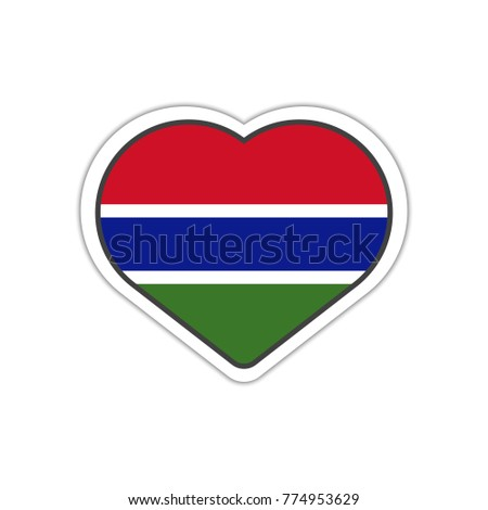 Heart shape sticker or label design for gambia flag illustration for greeting cards posters