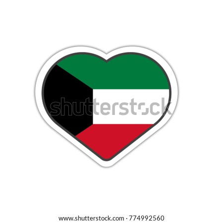Heart shape sticker or label design for kuwait flag illustration for greeting cards posters