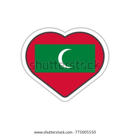 Heart shape sticker or label design for maldives flag illustration for greeting cards posters