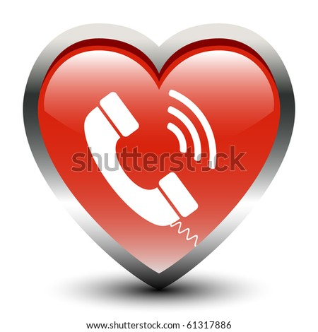 Heart Shape Telephone Receive Sign Icon - stock vector