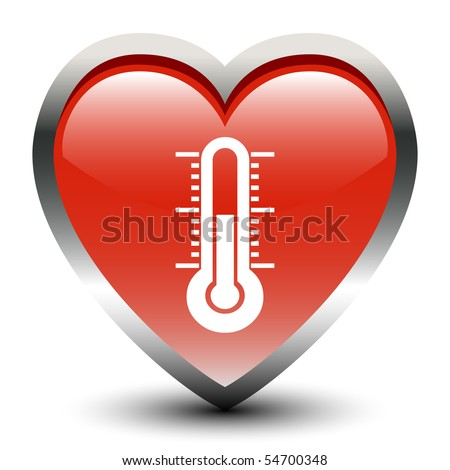 Heart Shape thermometer Sign Icon - stock vector