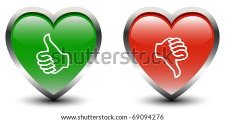 Heart Shape Thumbs Up & Down Sign Icons - stock vector