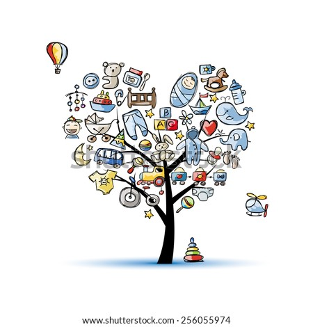Heart shape tree with toys for baby boy. Vector illustration - stock vector