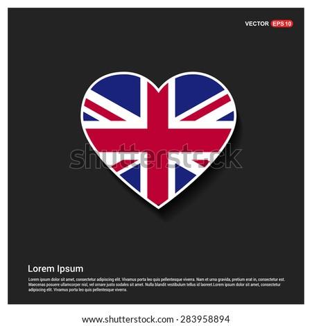 Heart Shape UK Flag - stock vector