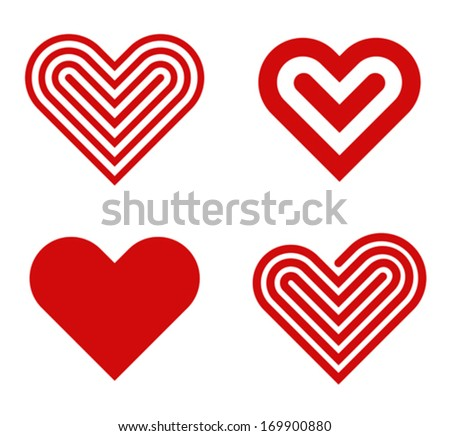 Heart shape vector logo design template collection. Happy Valentine's day! Love & Cardio elements icon. - stock vector