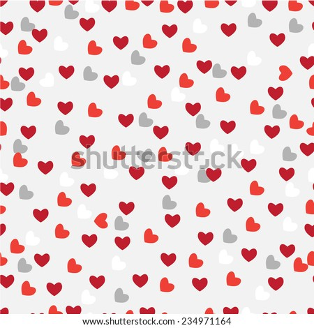 Heart shape vector seamless pattern (tiling) - Illustration - stock vector