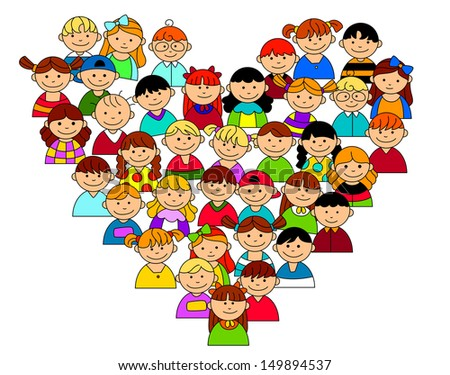 Heart shape with boys and girls for friendship and love concept. Jpeg version also available in gallery