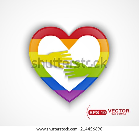 Heart shape with gay flag and two hands - gay couple concept - stock vector