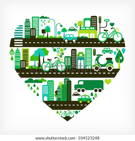 heart shape with green city - stock vector