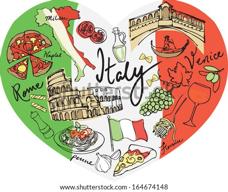 Heart shape with Italy vector icons