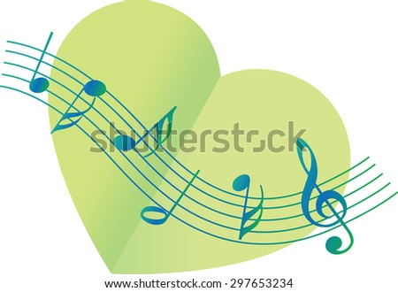Heart shape with music note icon