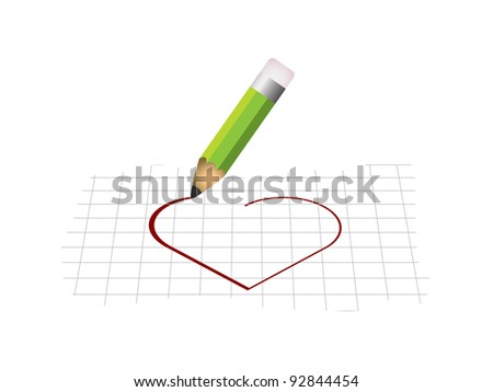 Heart shape with pencil - stock vector