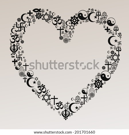 Heart Shape With Religion Icons - stock vector