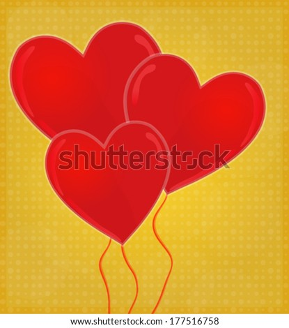 Heart-Shaped Balloons Card with Glossy Heart Red & Golden Background EPS 10