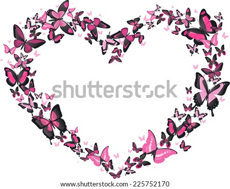 Heart shaped butterfly flight, pink and black butterflies vector heart shaped illustration. Romantic, classy. - stock vector