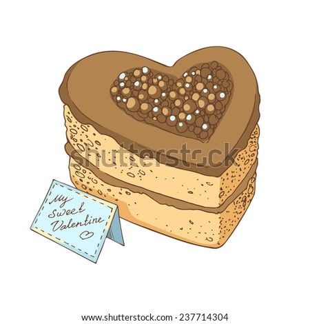 Heart-shaped cake vector illustration. Delicious heart-shaped cake with chocolate and  card for Valentine's Day.  - stock vector