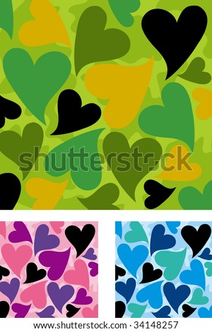 heart shaped Camouflage pattern  set. Vector illustration. - stock vector