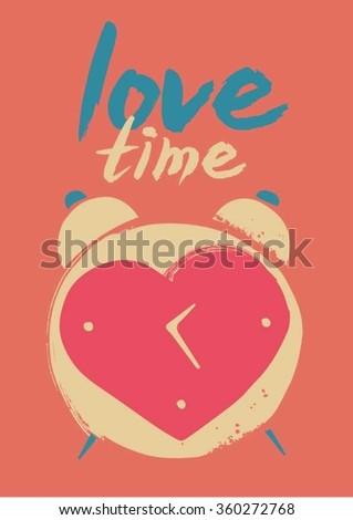 Heart shaped clock  - stock vector