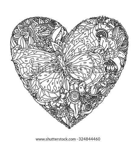 hearts and butterflies coloring pages - black and white hearts and stars in a drawing of