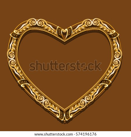 Heart Shaped Frame Gold Color Shadow Stock Vector 574196176 ...