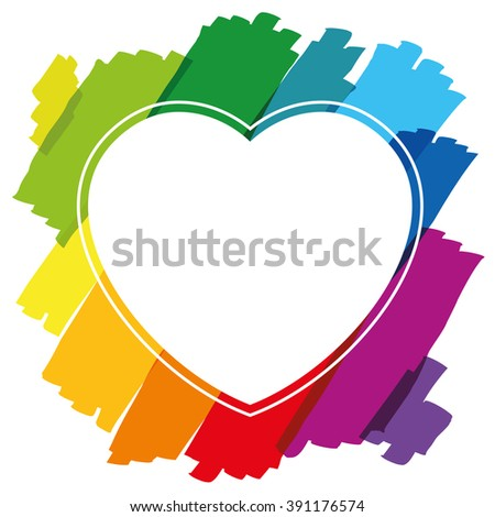 Heart shaped frame made of colorful brush strokes. Isolated vector illustration on white background. - stock vector
