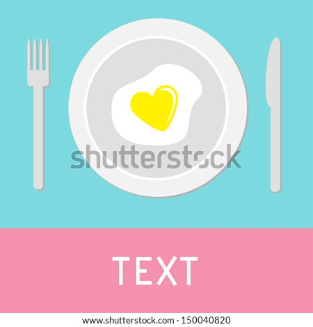 Heart-shaped fried egg illustration. Card - stock vector