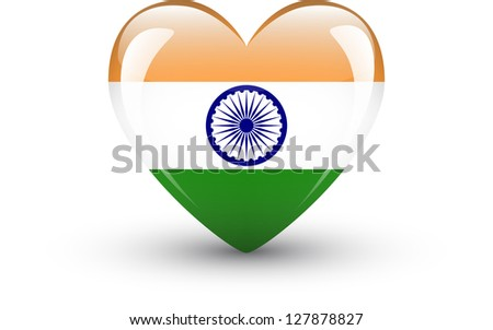 Heart-shaped icon with national flag of India isolated on white background