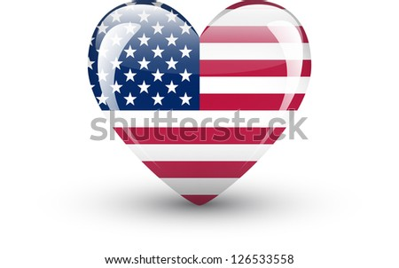 Heart-shaped icon with national flag of the USA isolated on white background