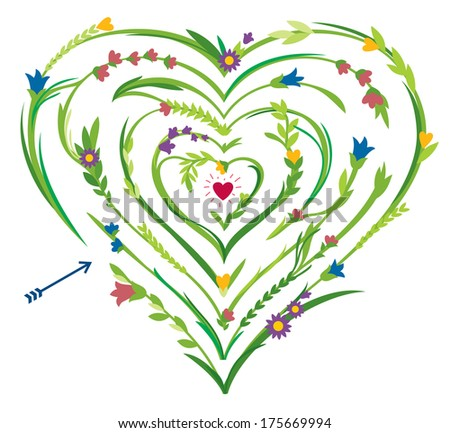 Heart Shaped Labyrinth With Floral Elements - stock vector