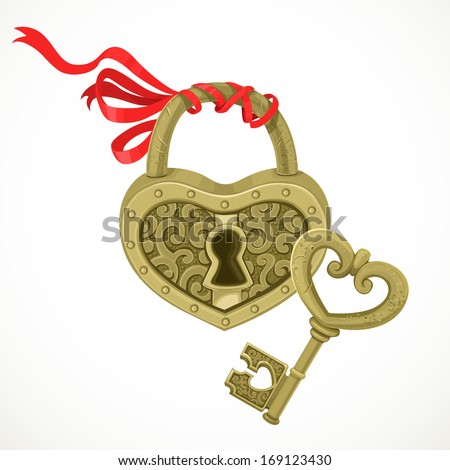 Heart shaped lock and key to it isolated on white background - stock vector
