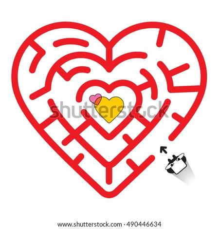 Heart maze vector